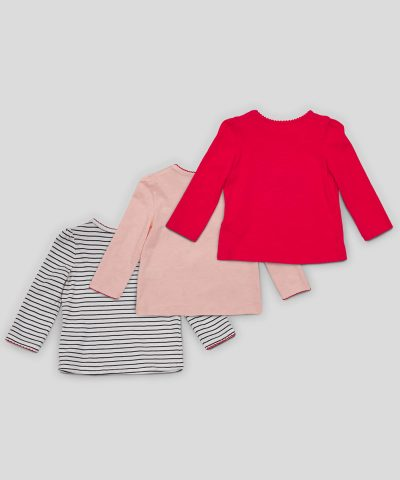 Бебешки комплект блузи с черешки от био памук за момиче