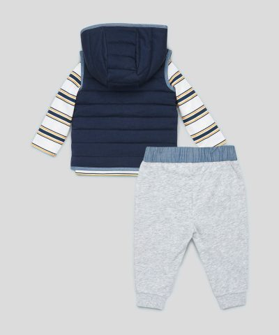 Бебешки и детски комплект от елек, блуза и панталони