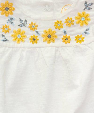 комплект с цветчета от био памук за момиче