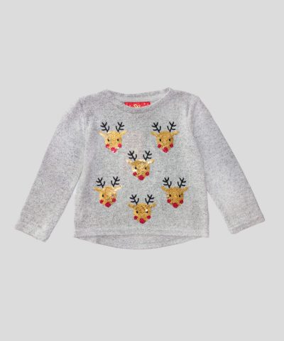 Плетена Коледна блуза с еленчета