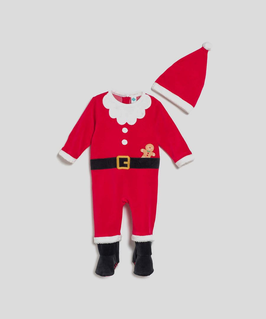 бебешки плюшен Коледен гащеризон с шапка