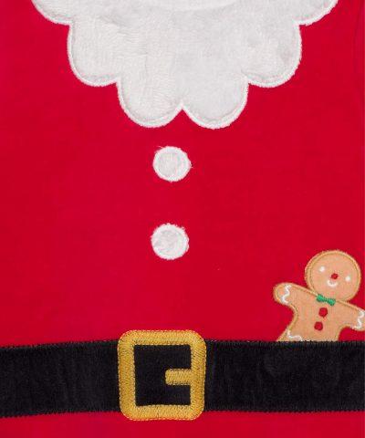 плюшен Коледен гащеризон с шапка за бебе