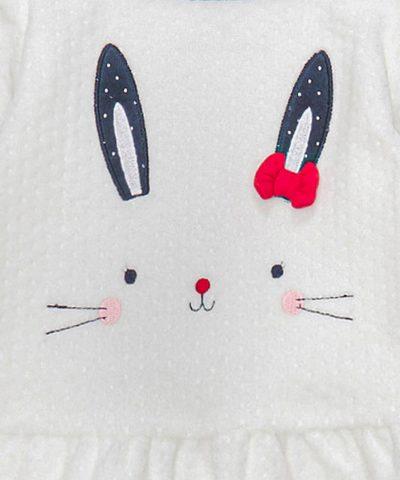плюшен комплект със зайче от био памук за момиче