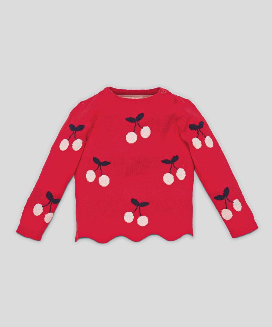 Пуловер с черешки от био памук