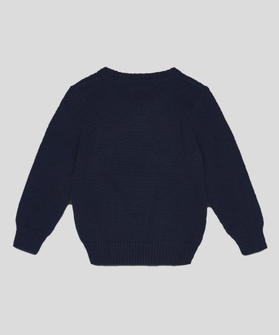 пуловер с мече в тъмносин цвят за момчета