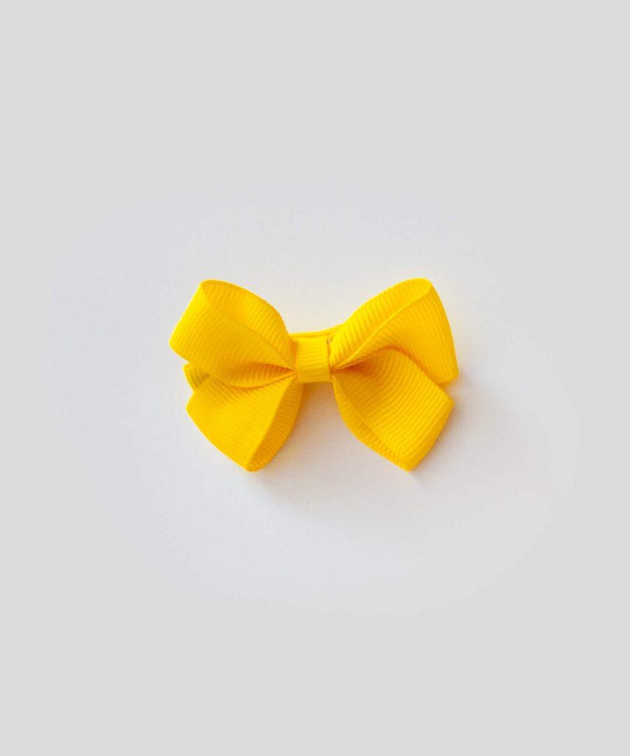 бебешка и детска шнола за коса в жълт цвят с панделка