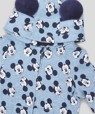 Момчешки гащеризон Мики Маус от био памук с цип и качулка за бебе