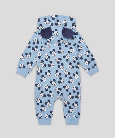 Бебешки гащеризон Мики Маус от био памук с цип и качулка за момче
