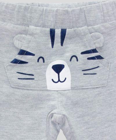 Сив ватиран панталон с тигърче за бебе и дете момче