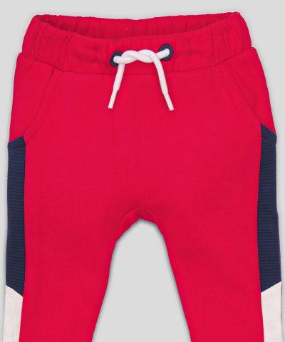 Ватиран панталон в червен цвят от био памук за момче