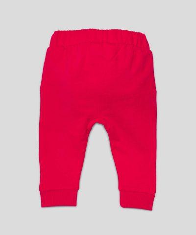 Бебешки и детски ватиран панталон в червен цвят от био памук за момче