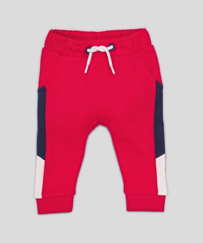 Ватиран панталон в червен цвят от био памук