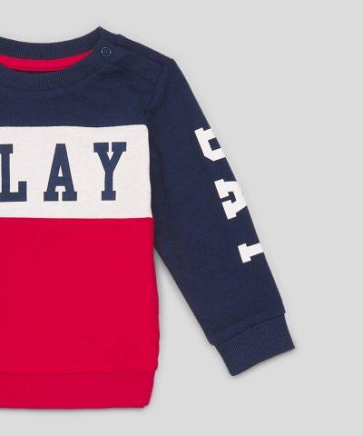 Ватирана блуза Play от био памук за бебе момче