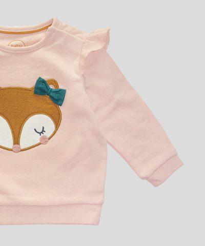 бебешка ватирана блуза с лисица за момиче