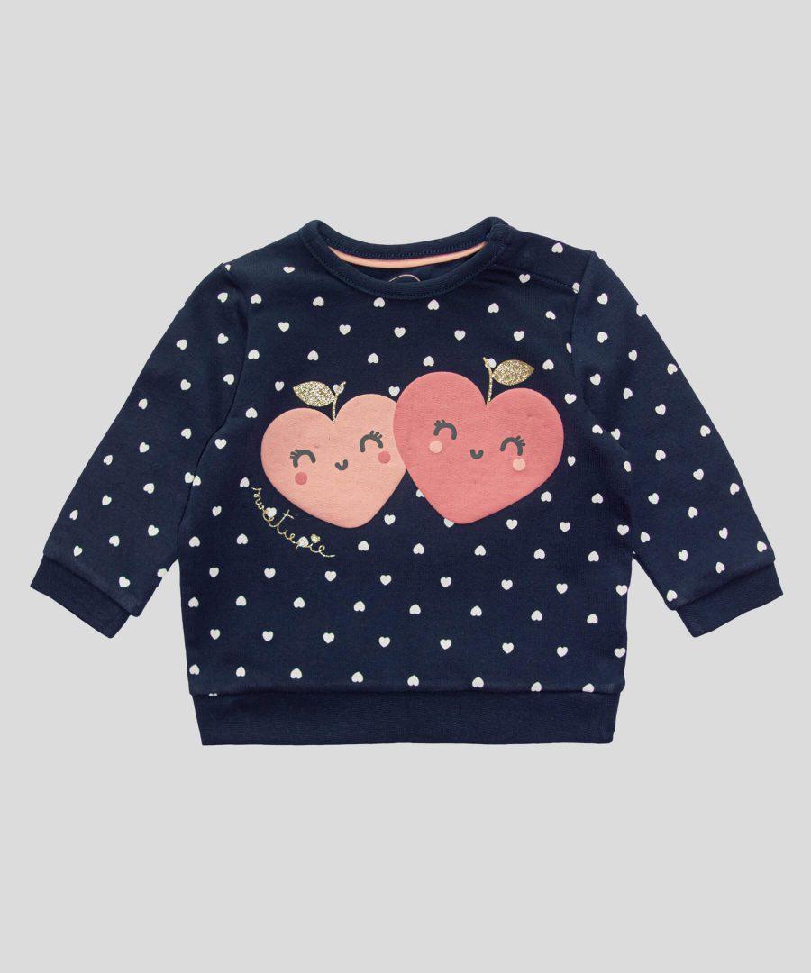 Ватирана блуза със сърчица от био памук
