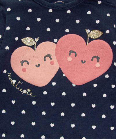 Ватирана блуза със сърчица от био памук за бебе момиче
