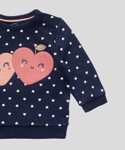 Бебешка ватирана блуза със сърчица от био памук в основен тъмносин цвят