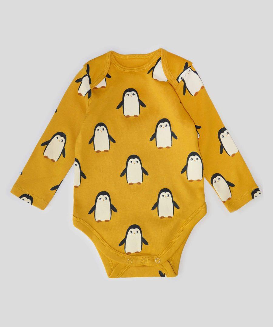 Боди с пингвини от био памук