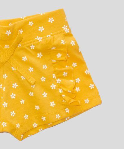 Къси панталонки в жълт цвят с маргаритки
