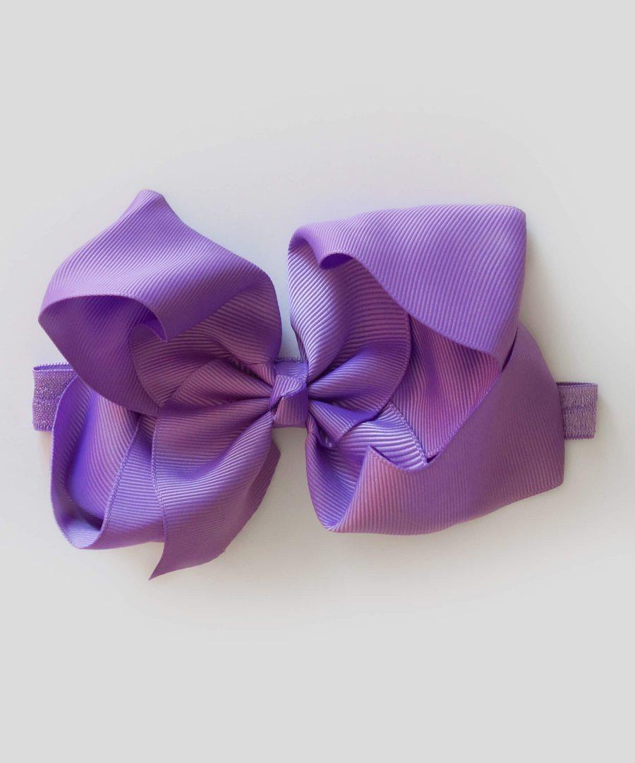 бебешка и детска лента за коса с голяма панделка в лилав цвят