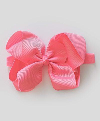 бебешка и детска лента за коса с голяма панделка в розов цвят