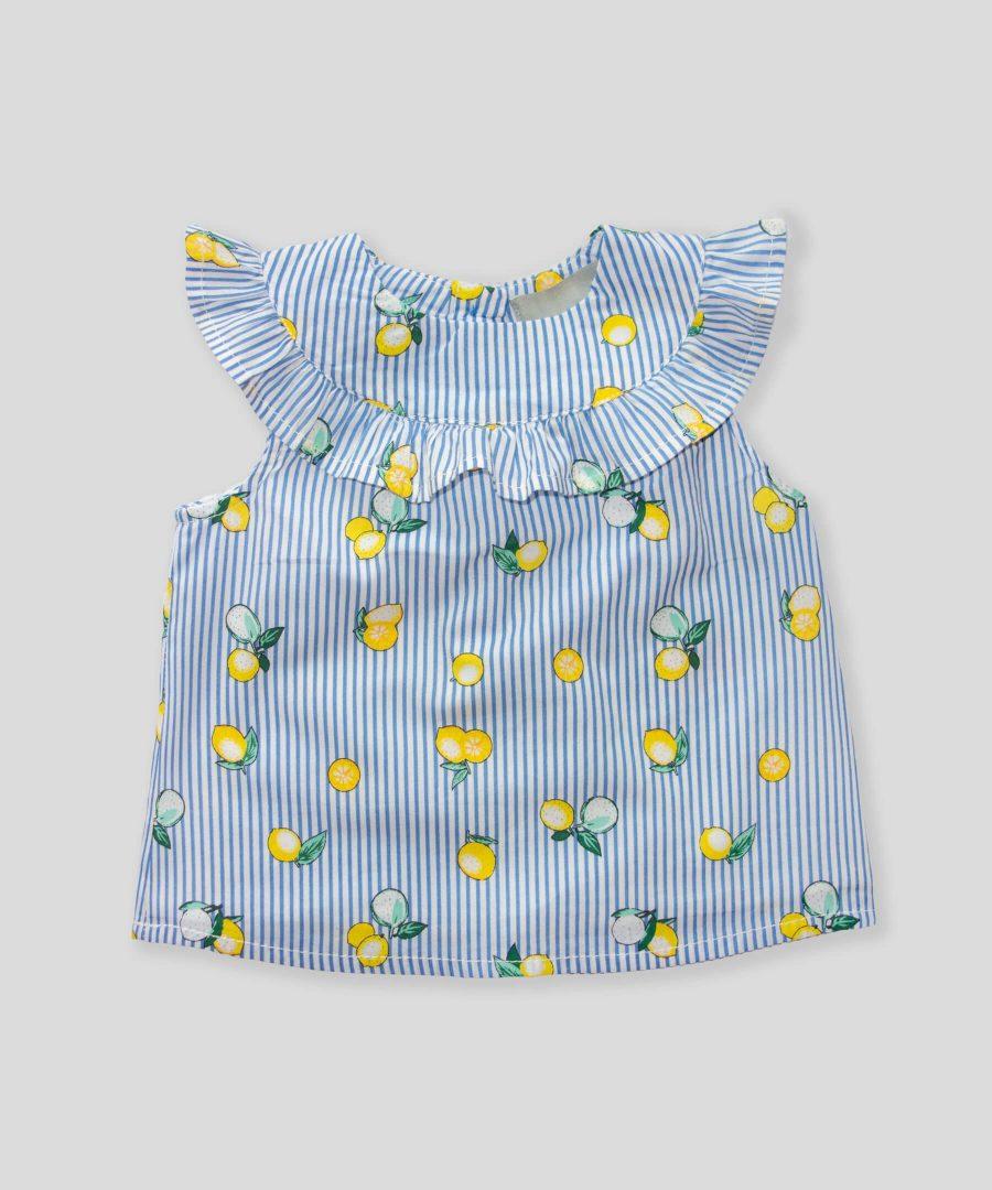 Блуза райе с лимони