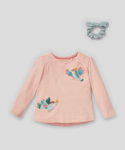 Блуза с птички и аксесоар за коса от био памук