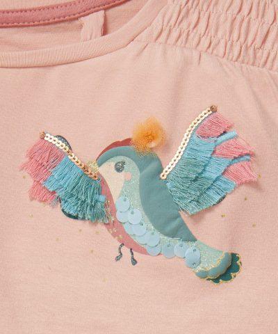 Блуза с птички и аксесоар за коса от био памук за момичета