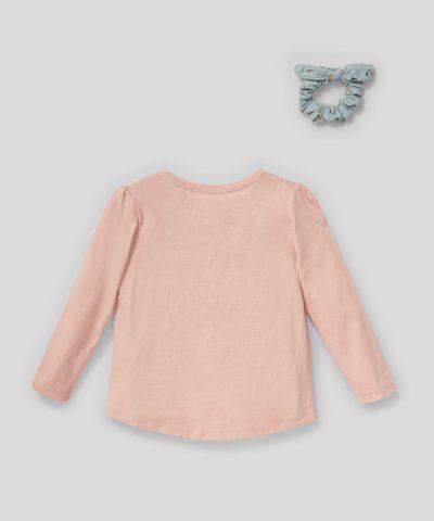 Детска блуза с птички и аксесоар за коса от био памук