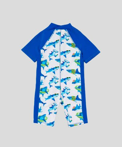 Бебешки бански с цип в десен с акули и слънцезащита