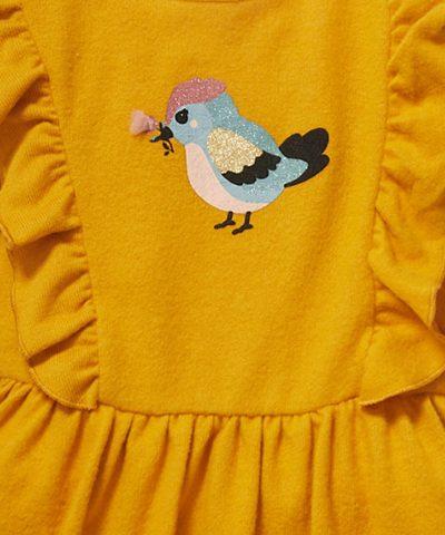 рокля с птичка в цвят горчица за деца