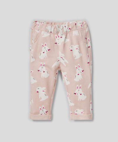 Ватиран панталон със зайчета от био памук