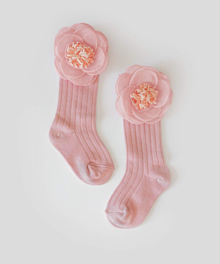 Високи чорапи с апликация голямо цвете