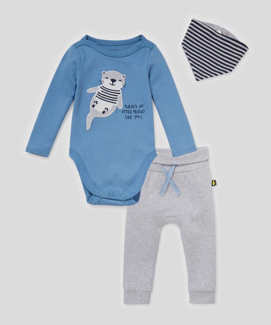 Комплект боди, панталони и бандана от био памук