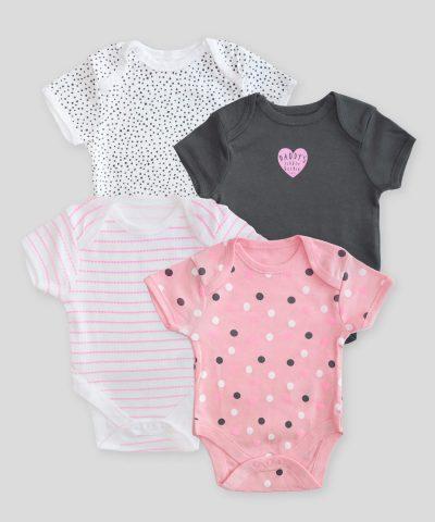 Комплект 4бр бебешки бодита за момиче