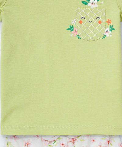 Комплект с ананас и цветя от био памук