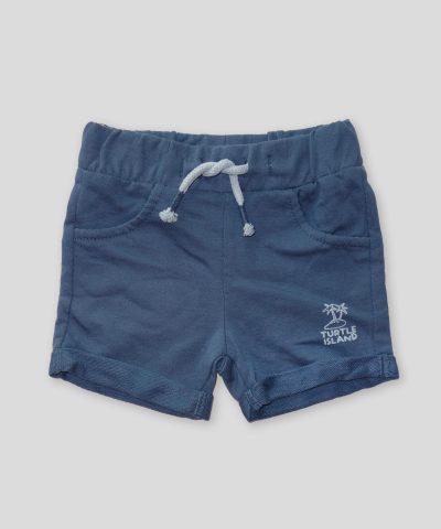 Къси панталонки в син цвят от био памук