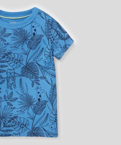 Тениска сафари в син цвят от био памук